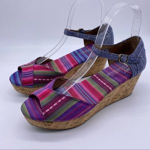 TOMS Multicolor Tribal Striped Cork Platfo…